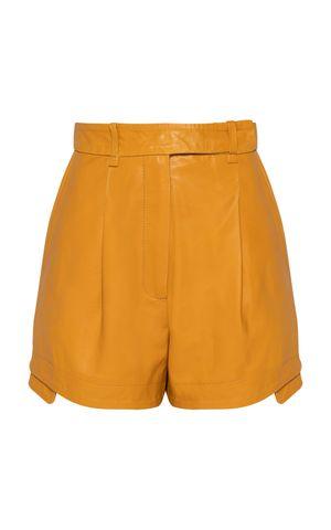 Shorts Couro Joana - Amarelo Dijon