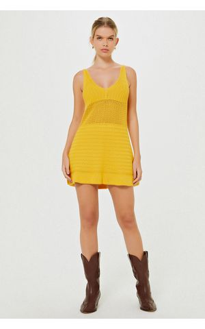 Vestido Tricot Kira - Amarelo Dijon